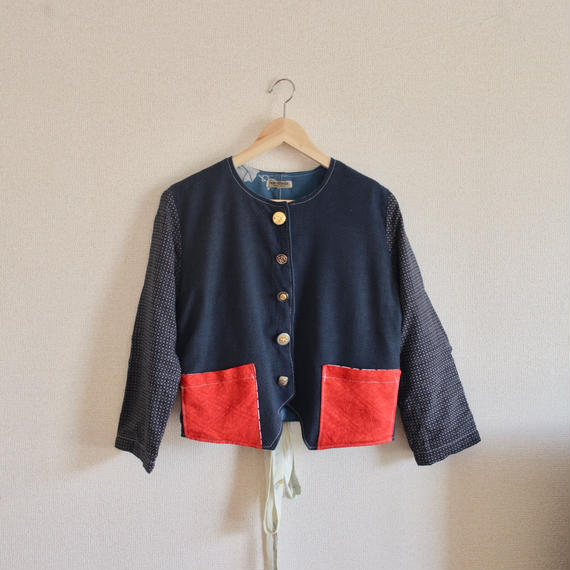 Dark blue no collar short jacket (no.144)