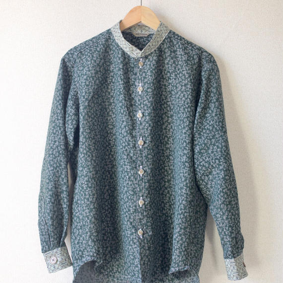 Men's dark green kimono casual shirt (no.098)