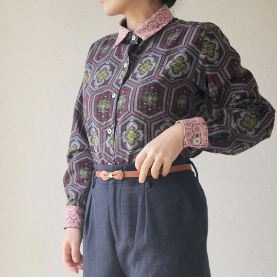 Lacework collar kasuri shirt (no.096)