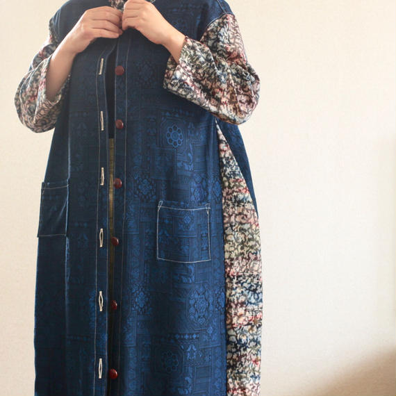 Blue x abstract Kimono long dress jacket (no.219)