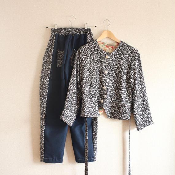 Black geometric pattern Kimono Jacket & Jodhpurs (no.226)