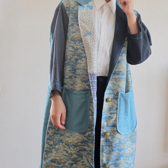 Japanese blue Kimonos Unisex Long Jacket (no.184)