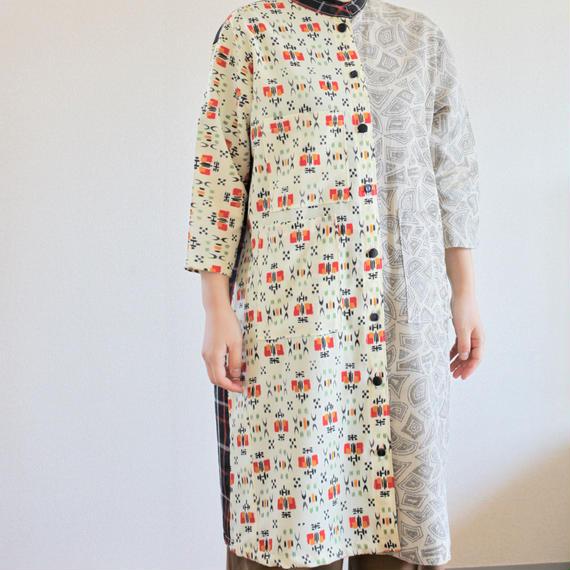Check & Abstract pattern Kimono Long Jacket dress (no.277)
