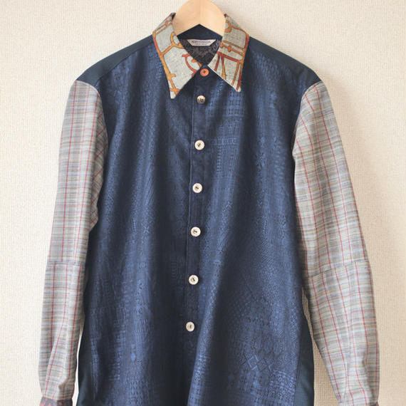 Men's blue pattern kimono casual shirt (no.081)