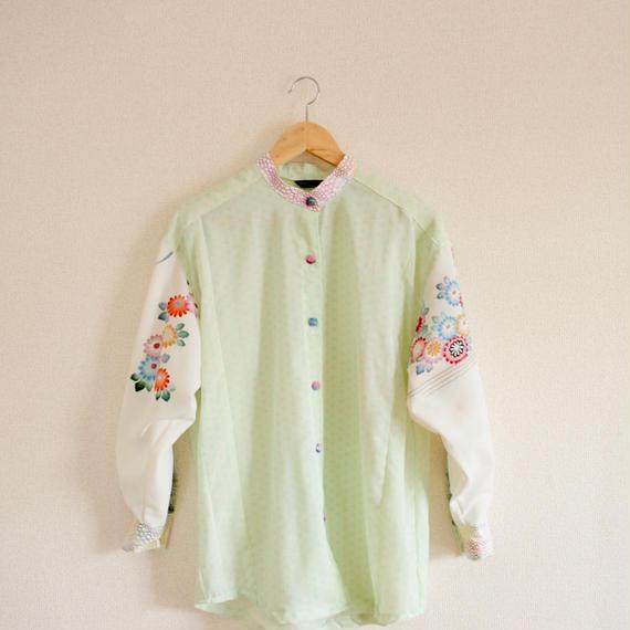Pastel color & Flower Kimono oversized Shirt (no.266)