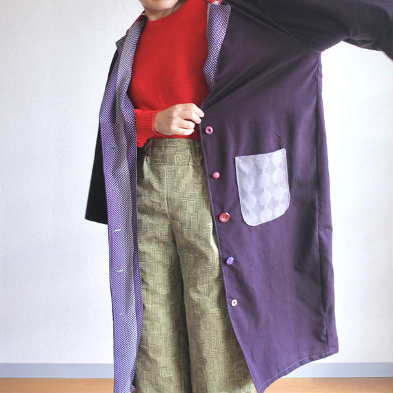 Dark purple Kimono long jacket (no.129)