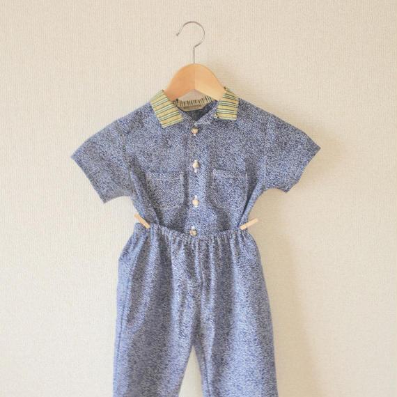KIDS blue yukata&green stripe kimono shirt&pants (no.211)
