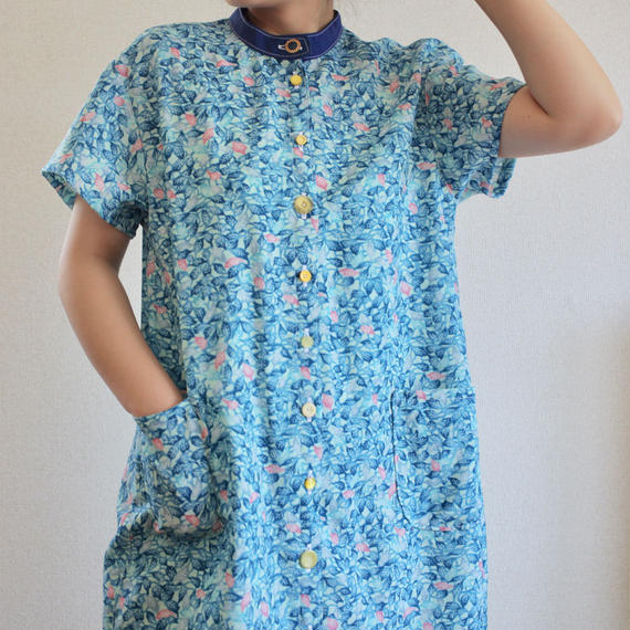 Light Blue leaf pattern Long shirt like dress (no.159)