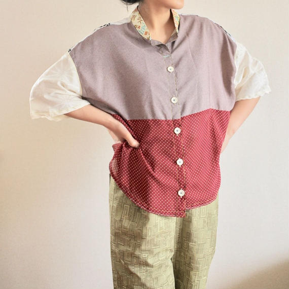 Edo Komon Japanese combination blouse (no.169)