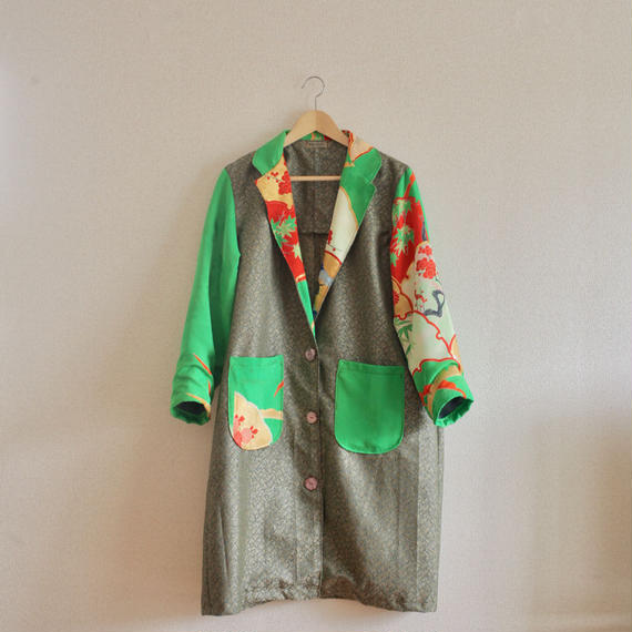 Light green Furisode kimono Long jacket (no.221)