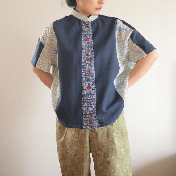 Patchwork mannish-look half sleeve shirt (no.165)