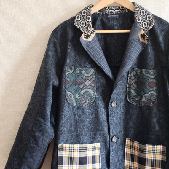 Shogi x Check patterns & Dark blue Kimono Long Coat (no.235)