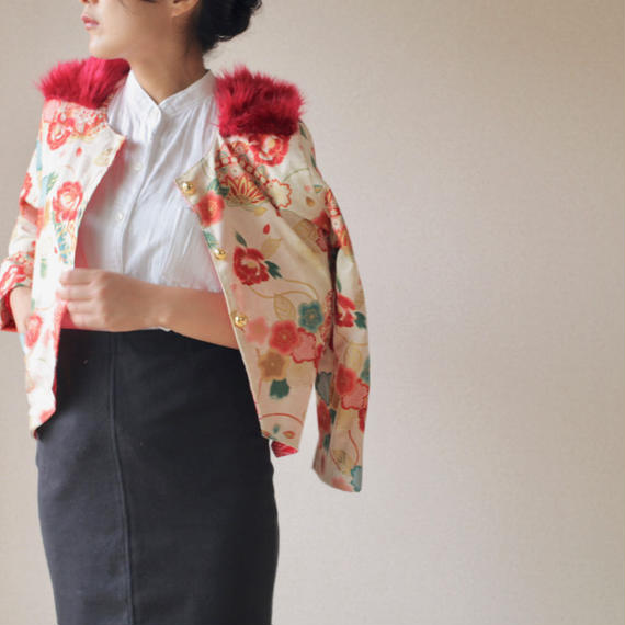 Red fur x Japanese flower pattern jacket (no.058)