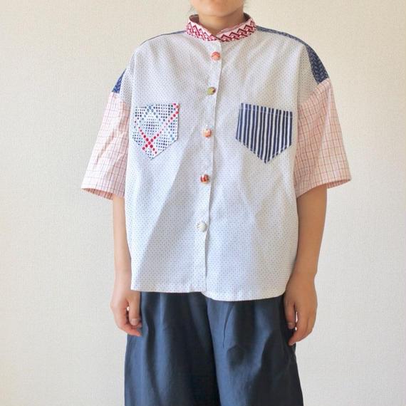 White kimono&Yukata loose silhouette shirt (no.191)
