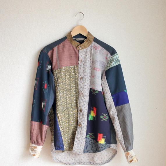 Men's standcollar kimono patchwork shirt (no.143)