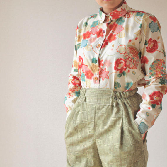 Japanese flower pattern shirt (no.056)