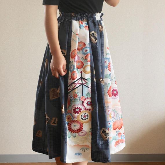 Shogi & Flower pattern kimono long skirt (no.248)