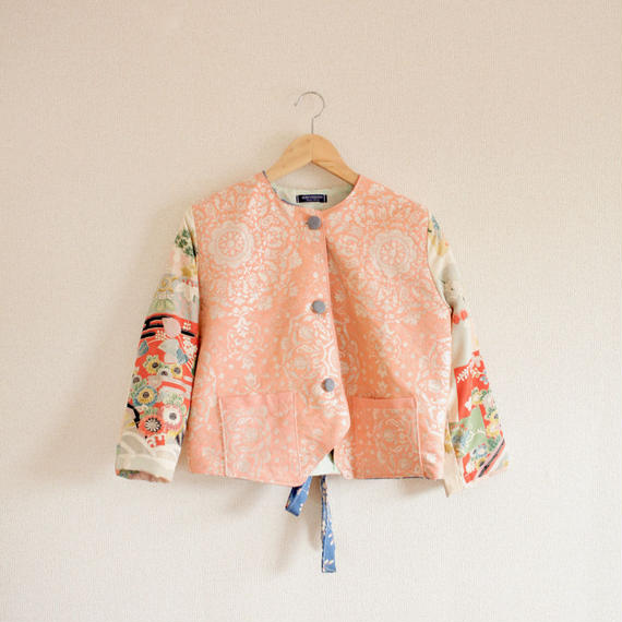Pink & Antique Kimono Spring Short Jacket (no.264)