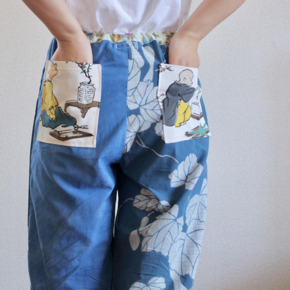 Blue yukata summer casual room pants (no.162)