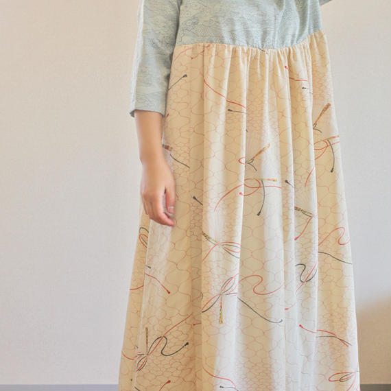 Light blue x Japanese fan pattern Kimono Long Dress (no.252)
