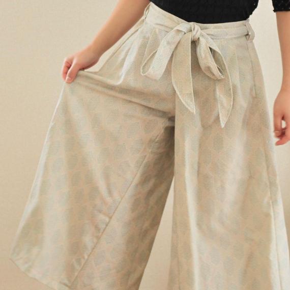 White kimono wide pants (no.154)