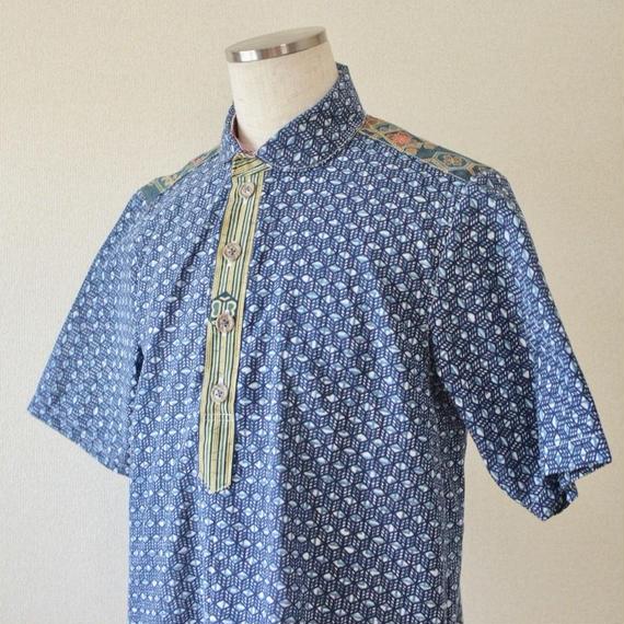 Men's kimono&Yukata blue half-sleeve shirt (no.193)