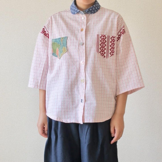 Pink check cotton Yukata shirt (no.190)