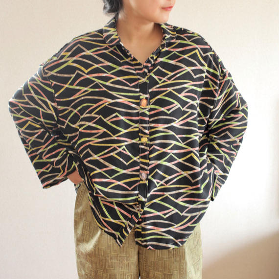 Black silk kimono over-sized blouse (no.168)