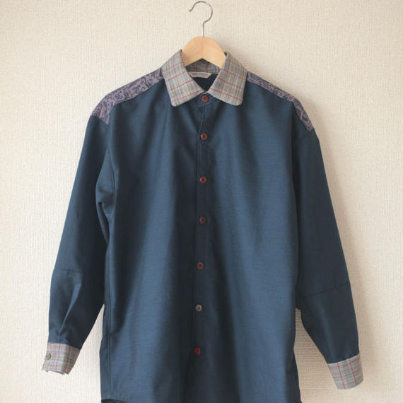 Men's dark blue casual shirt (no.080)