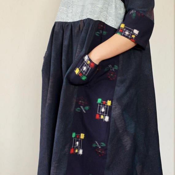 Kasuri &Blue Kimono dress tunic (no.257)