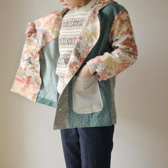 Unisex Kimono Obi patchwork half jacket (no.097)