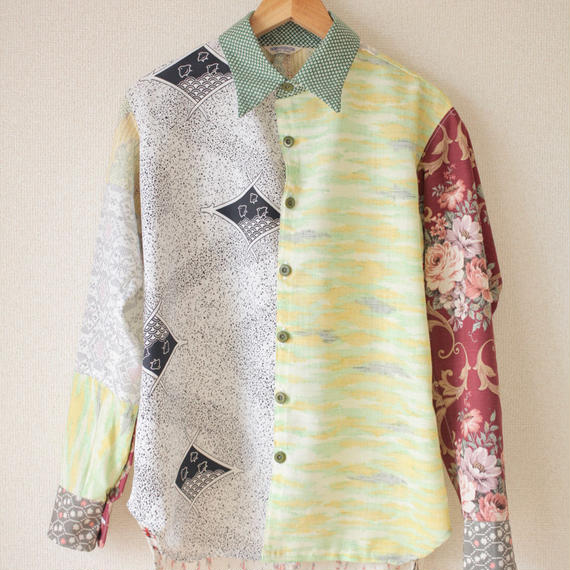Men's Kimono patchwork shirt / Light green (no.066)