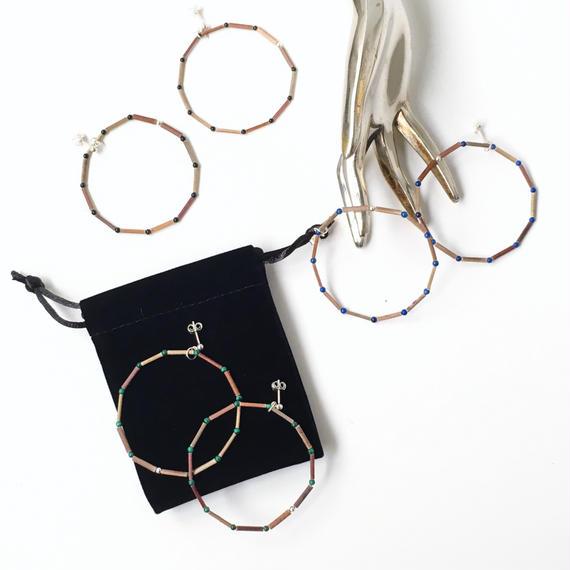BEADS ROUND 12 EARRINGS (3 STONES) - ピアス