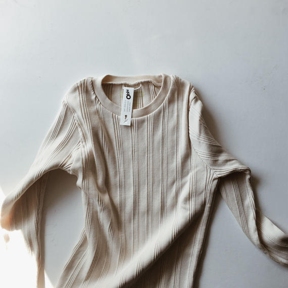 COTTON SILK RANDOM RIB TEE - Ecru