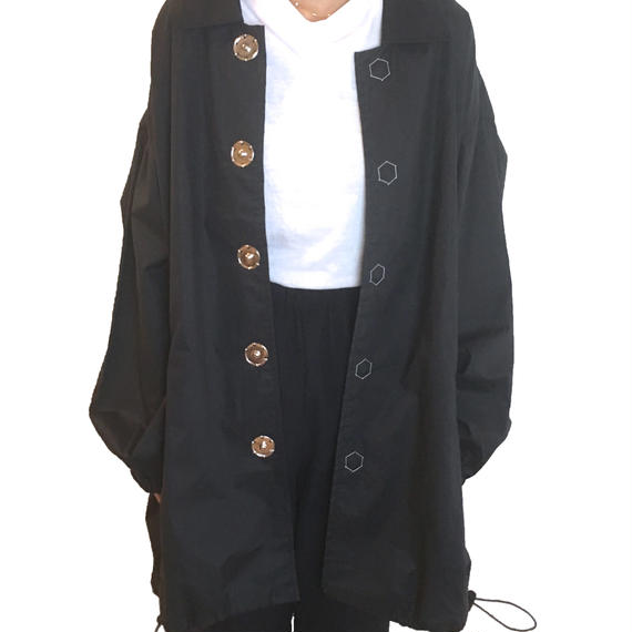 OIL TYPEWRITER LONG COACH JACKET (NAVY)