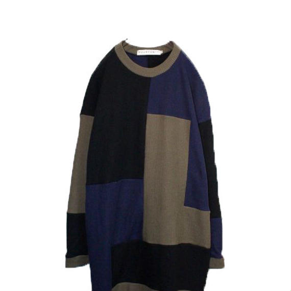 PATCHWORK LONG KNIT (BLACK MIX)