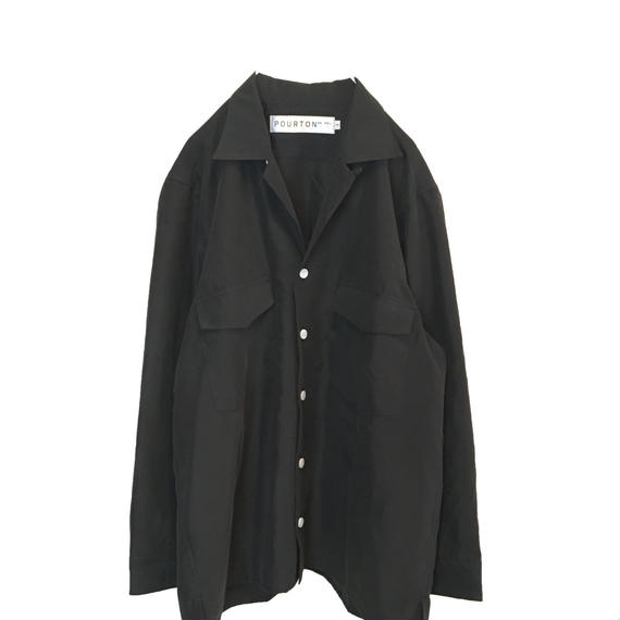 MODAL OPEN COLLAR 3/4 SLEEVE SHIRT (BLACK)