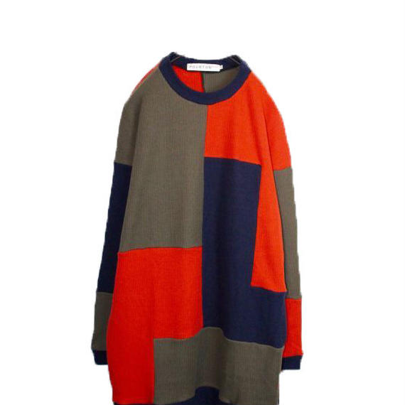 PATCHWORK LONG KNIT (RED MIX)