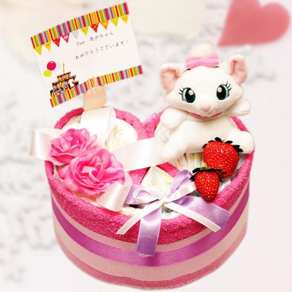 【ハート型】ラブラブなご夫婦に♪マリーちゃんのハート型おむつケーキ