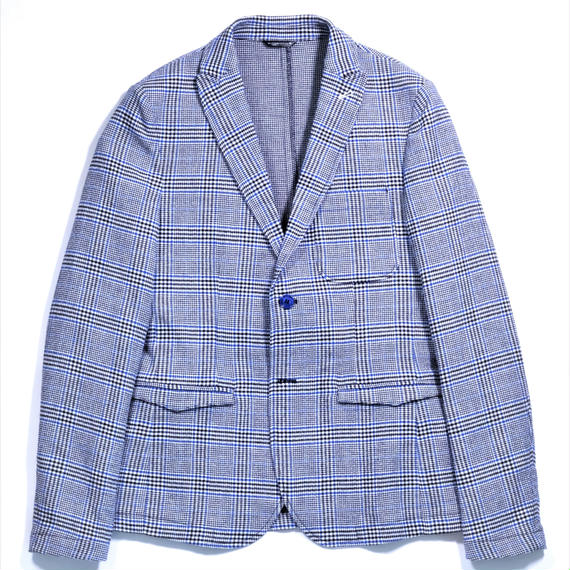 DANIELE ALESSANDRINI GLEN CHECK COTTON JACKET(BLUE GRAY)