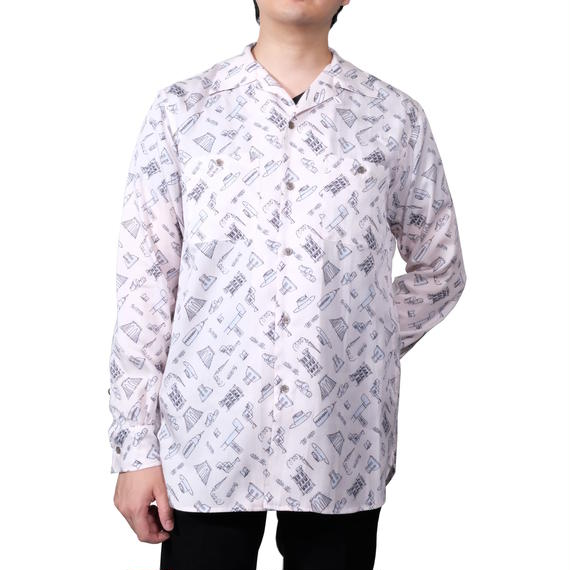 FACTOTUM 総柄プリントオープンカラーシャツ(PINK)