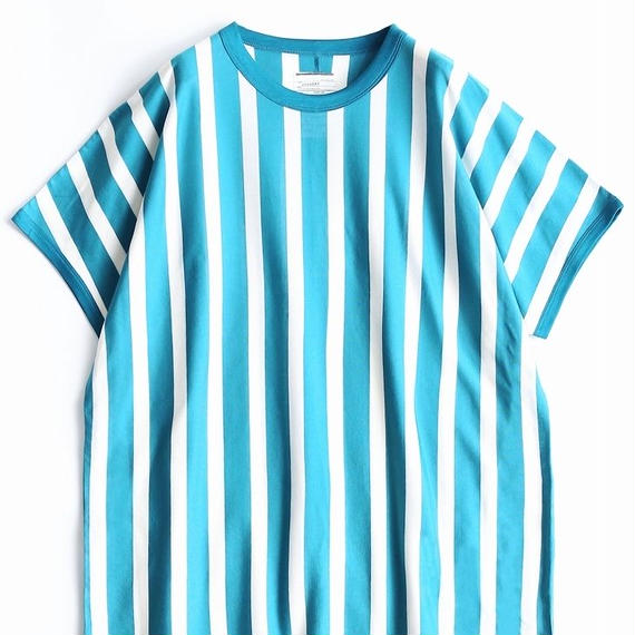 SHAREEF STRIPE CREW-NECK BIG-T(Turquoise×White)