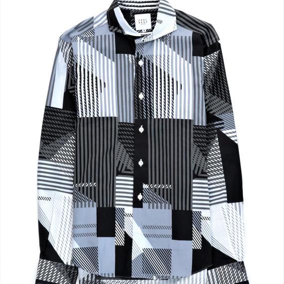 FEEL EASY ORIGINAL ジオメトリックシャツ(Black×Gray)