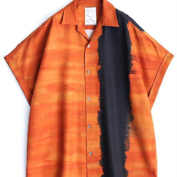 SHAREEF PATTERNED ALL OVER S/S BIG SHIRTS(Orange)