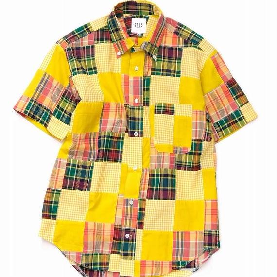 FEEL EASY ORIGINAL インディアマドラスパッチワーク半袖シャツ(Red×Yellow)