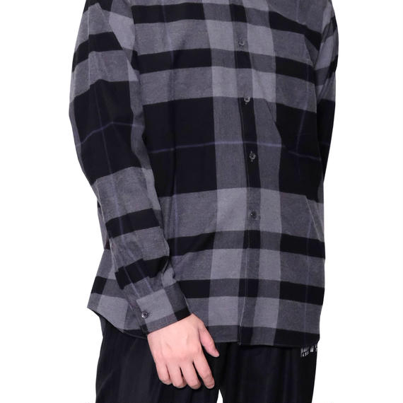FACTOTUM オリジナルネルチェックワイドシャツ(BLACK)