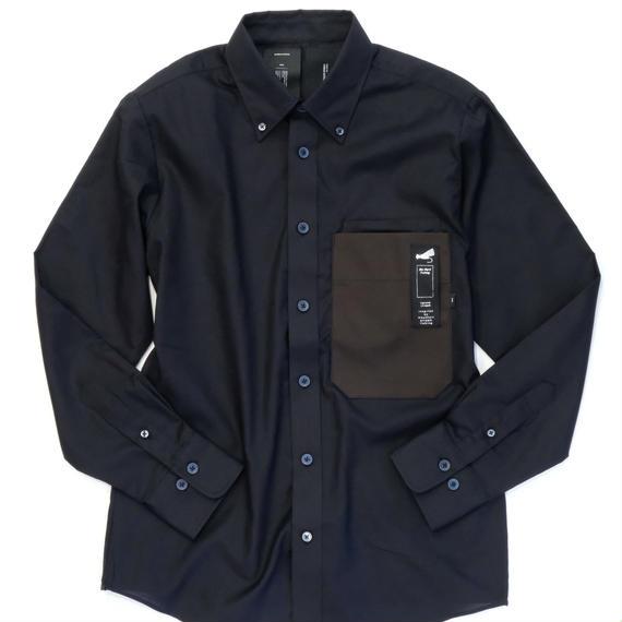 MofM(man of moods) 長袖オックスフォードパラフィン加工キャンバスシャツ(BLACK)