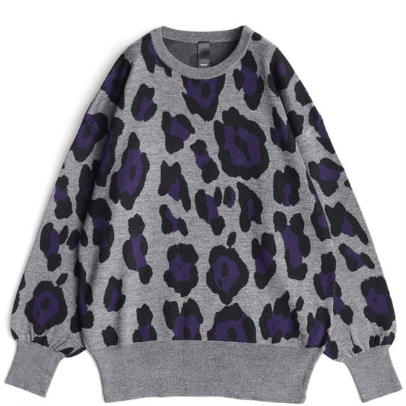 SHAREEF LEOPARD JQ L/S PULL-OVER(Top Gray)