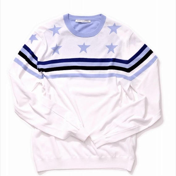 DANIELE ALESSANDRINI STAR AND BORDER KNIT(WHITE)