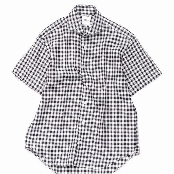 FEEL EASY ORIGINAL マイクロチェックリネン半袖シャツ(Black)